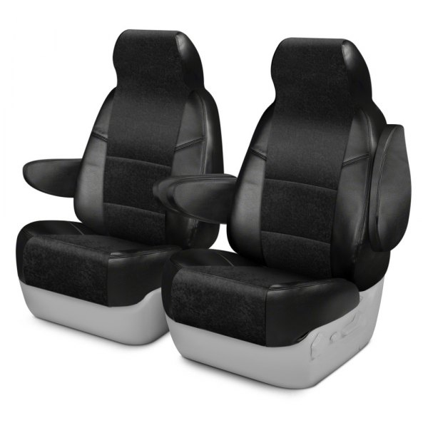 Coverking® - Alcantara 1st Row Black Custom Seat Covers