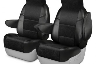 Coverking® CSCAT1CH8618 - Alcantara 1st Row Black Custom Seat Covers