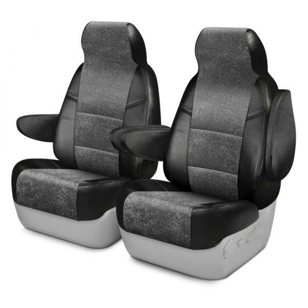 Coverking® - Alcantara 1st Row Black & Charcoal Custom Seat Covers