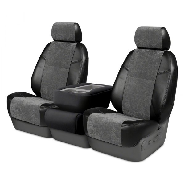 Coverking® - Alcantara 2nd Row Black & Charcoal Custom Seat Covers