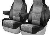 Coverking® - Alcantara 1st Row Black & Gray Custom Seat Covers