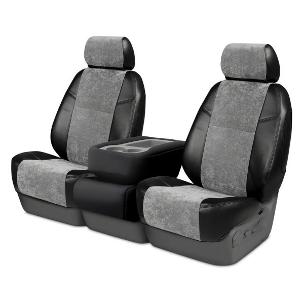 Coverking® - Alcantara 2nd Row Black & Gray Custom Seat Covers