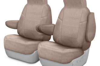 Coverking® CSCC12LX7019 - Suede 1st Row Beige Custom Seat Covers