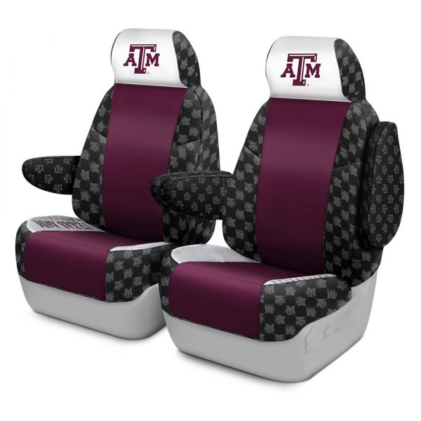 Coverking® - Licensed Collegiate 1st Row Custom Seat Covers with Texas A&M University Logo