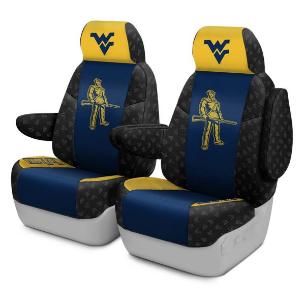 Coverking® - Licensed Collegiate 1st Row Custom Seat Covers with West Virginia University Logo