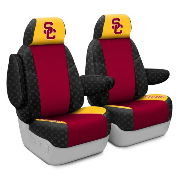 Coverking® - Licensed Collegiate 1st Row Custom Seat Covers with University of Southern California Logo