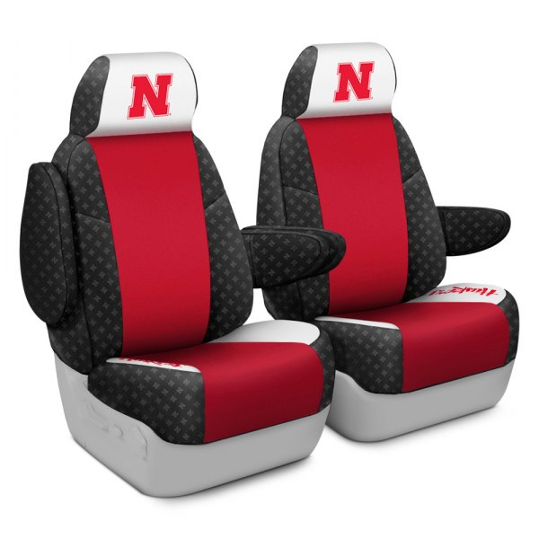 Coverking® - Licensed Collegiate 1st Row Custom Seat Covers with University of Nebraska Logo