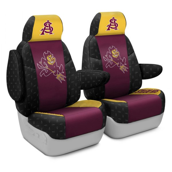Coverking® - Licensed Collegiate 1st Row Custom Seat Covers with Arizona State University Logo