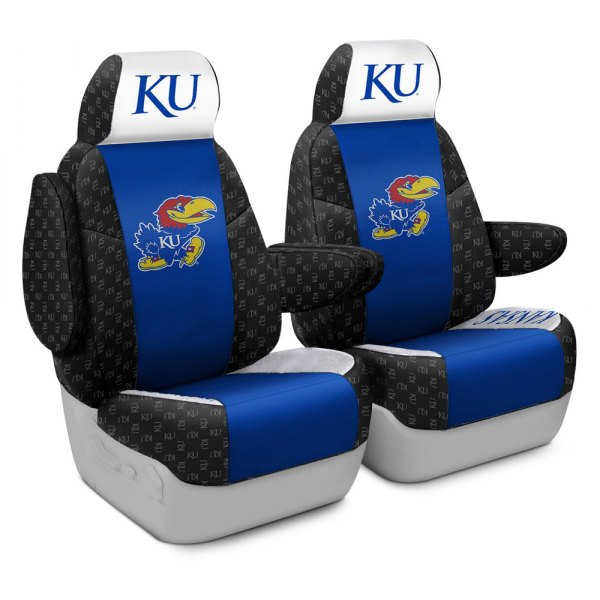 Coverking® - Licensed Collegiate 1st Row Custom Seat Covers with University of Kansas Logo