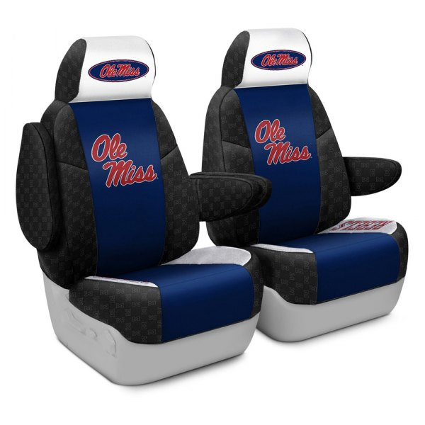 Coverking® - Licensed Collegiate 1st Row Custom Seat Covers with University of Mississippi Logo