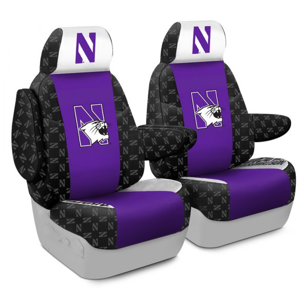 Coverking® - Licensed Collegiate 1st Row Custom Seat Covers with Northwestern University Logo