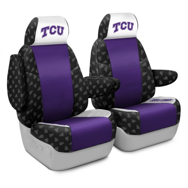 Coverking® - Licensed Collegiate 1st Row Custom Seat Covers with Texas Christian University Logo