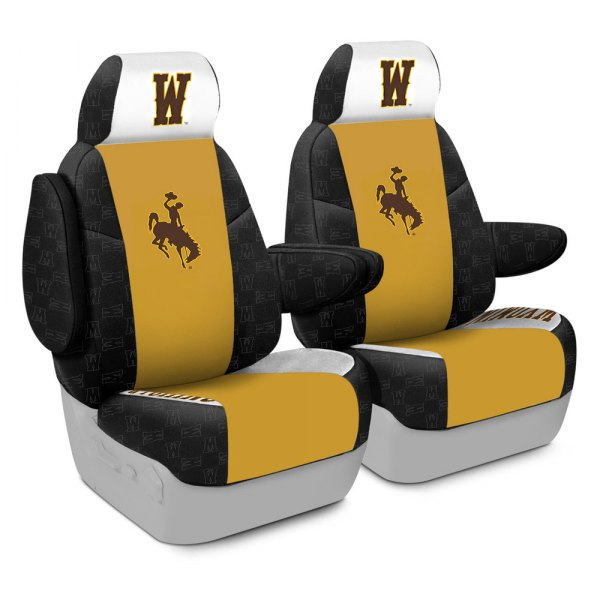 Coverking® - Licensed Collegiate 1st Row Custom Seat Covers with The University of Wyoming Logo