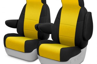 Coverking® CSCF5DG7538 - CR-Grade Neoprene 1st Row 2-Tone Black & Yellow Custom Seat Covers