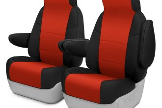 Coverking® CSCF89JP7244 - CR-Grade Neoprene 1st Row 2-Tone Black & Inferno Orange Custom Seat Covers