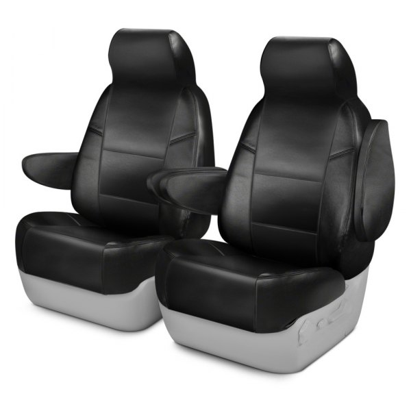 Coverking® - Leatherette 1st Row Black Custom Seat Covers