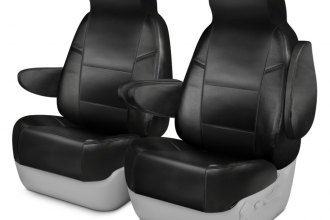 Coverking® CSCQ1FD9543 - Leatherette 1st Row Black Custom Seat Covers