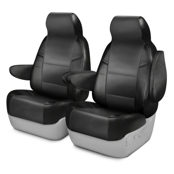 Coverking® - Leatherette 1st Row Black & Charcoal Custom Seat Covers