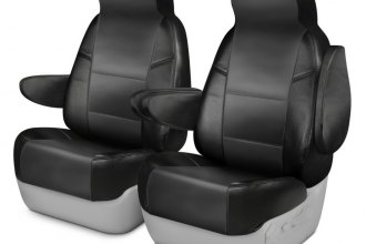 Coverking® CSCQ12PN7252 - Leatherette 1st Row Black & Charcoal Custom Seat Covers