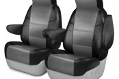 Coverking® - Leatherette 1st Row Black & Light Gray Custom Seat Covers