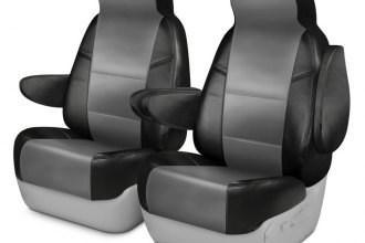 Coverking® CSCQ13CH8604 - Leatherette 1st Row Black & Light Gray Custom Seat Covers