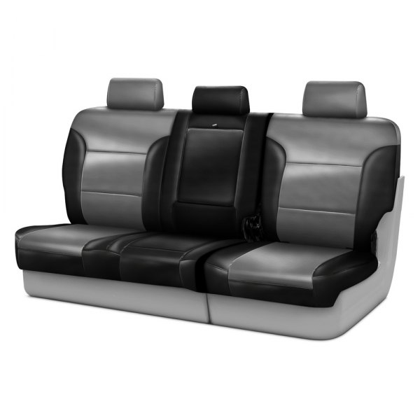 Coverking® - Leatherette 3rd Row Black & Light Gray Custom Seat Covers