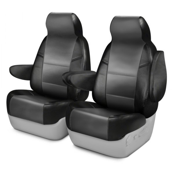 Coverking® - Leatherette 1st Row Black & Medium Gray Custom Seat Covers