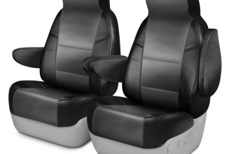 Coverking® CSCQ14CH7111 - Leatherette 1st Row Black & Medium Gray Custom Seat Covers