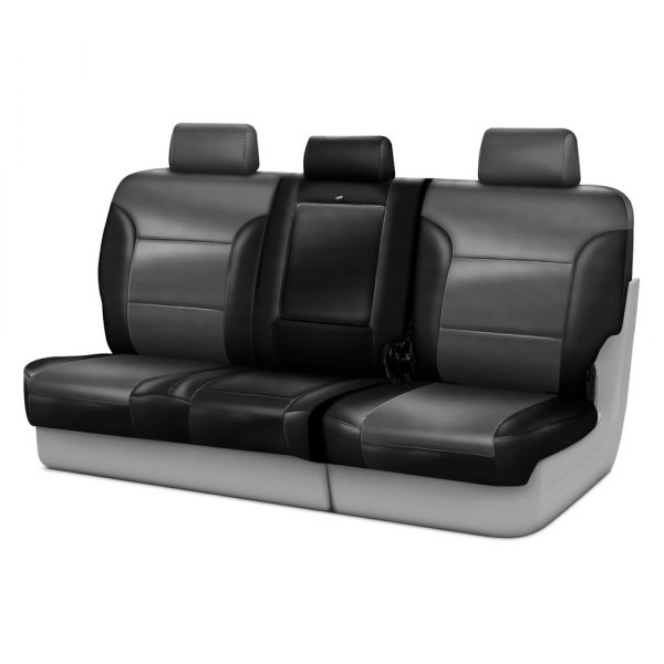 Coverking® - Leatherette 3rd Row Black & Medium Gray Custom Seat Covers