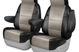 Coverking® CSCQ15CH8085 - Leatherette 1st Row Black & Cashmere Custom Seat Covers