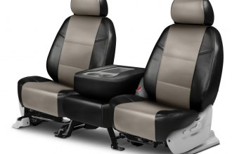 Coverking® CSCQ15MA7245 - Leatherette 2nd Row Black & Cashmere Custom Seat Covers