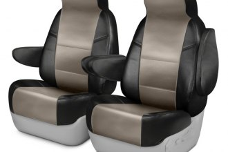 Coverking® CSCQ16TT7011 - Leatherette 1st Row Black & Taupe Custom Seat Covers
