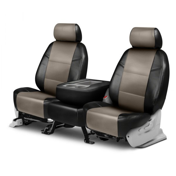 Coverking® - Leatherette 2nd Row Black & Taupe Custom Seat Covers