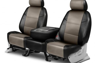 Coverking® CSCQ16HM7033 - Leatherette 2nd Row Black & Taupe Custom Seat Covers