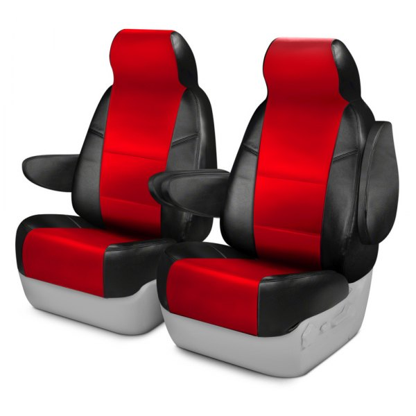 Coverking® - Leatherette 1st Row Black & Red Custom Seat Covers