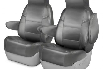 Coverking® CSCQ3TT7767 - Leatherette 1st Row Light Gray Custom Seat Covers