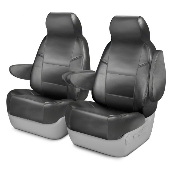 Coverking® - Leatherette 1st Row Medium Gray Custom Seat Covers