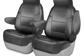 Coverking® CSCQ4CR7232 - Leatherette 1st Row Medium Gray Custom Seat Covers