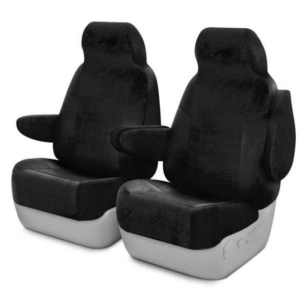 Coverking® - Velour 1st Row Black Custom Seat Covers