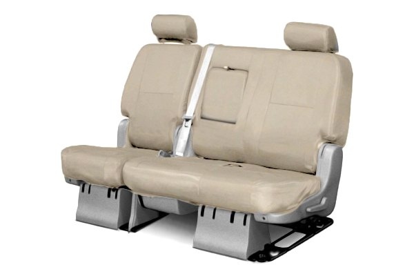 Coverking® - 2nd Row Genuine Leather Custom Beige Seat Covers