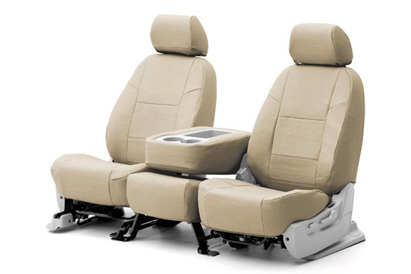 Coverking® - 1st Row Genuine Leather Custom Beige Seat Covers