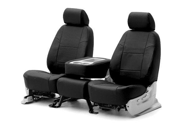 Coverking® - 1st Row Genuine Leather Custom Black Seat Covers