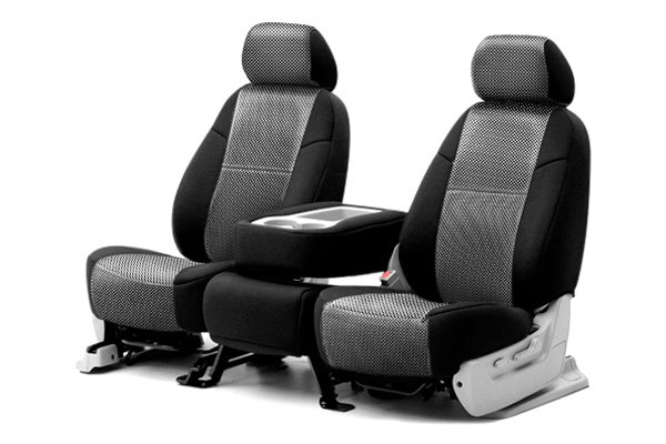 Coverking® - Rear Row Neosupreme Printed Custom Carbon Fiber Seat Covers with Black Sides