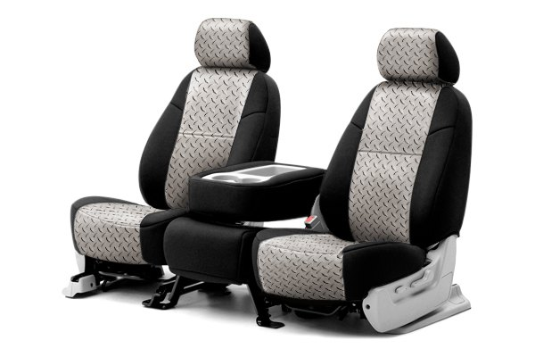 Coverking® - Rear Row Neosupreme Printed Custom Chrome Diamond Plate Seat Covers with Black Sides