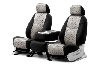 Coverking® CSC2PD02CH8010 - 2nd Row Neosupreme Printed Custom Chrome Diamond Plate Seat Covers with Black Sides