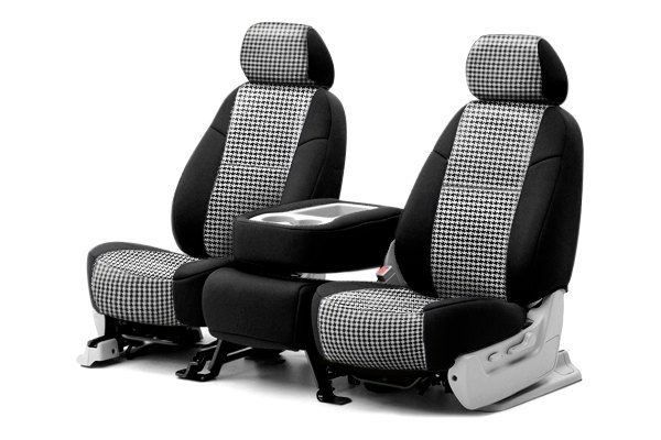 Coverking® - Rear Row Neosupreme Printed Custom Houndstooth Seat Covers with Black Sides