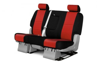 Coverking® CSC2A7CH9447 - 2nd Row Neosupreme Custom Red Seat Covers with Black Sides
