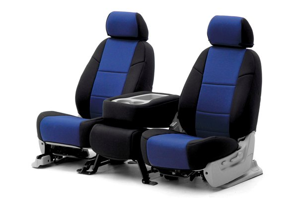 Coverking® - 1st Row Neosupreme Custom Blue Seat Covers with Black Sides