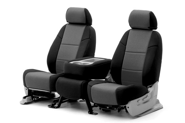 Coverking® - 1st Row Neosupreme Custom Charcoal Seat Covers with Black Sides