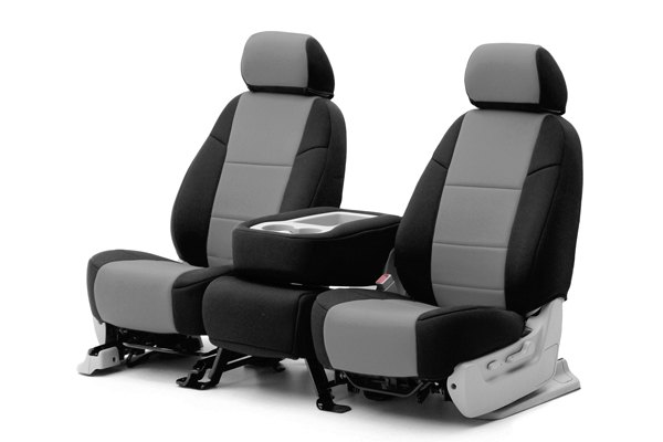 Coverking® - 1st Row Neosupreme Custom Gray Seat Covers with Black Sides